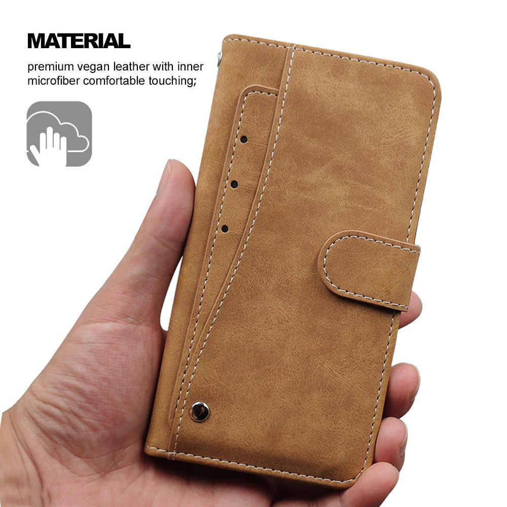 Funda vintage de lujo para Motorola Moto G7 G6 Plus Play, Funda de cuero con tapa de silicona, funda de cartera de TPU con tarjetero