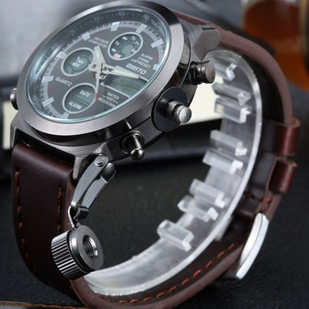 Fashion Men Watches Top Brand GIMTO Sport Clock LED Display Wristwatch Casual Leather Strap Watch Waterproof Montre Homme GM201