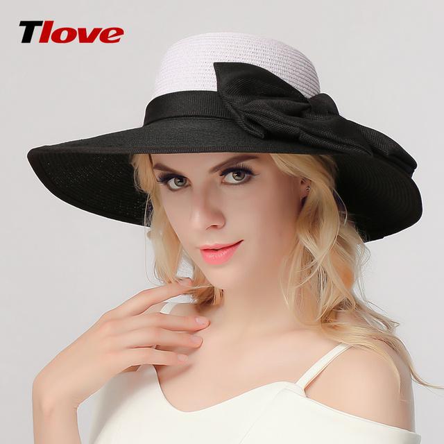 Chapéu coreano Dama Da Moda Verão Grande chapéu de Palha Sun Cap Praia Arco chapéu de Aba Larga Cap Sol Dobrável Chapéu Feminino Exterior B-3170