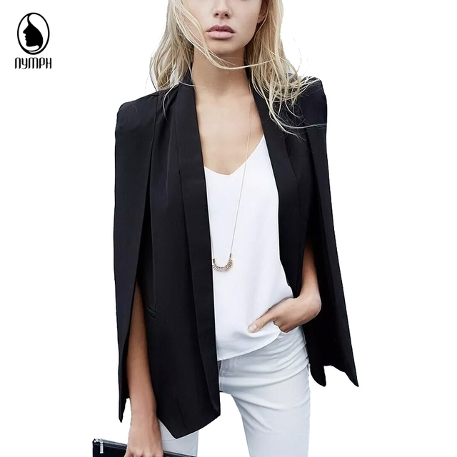 Womens Blazer and Jackets Plus size 2016 Autumn Women's Cloak Cape for Women Notched Long Sleeve Women Office Suits for Work