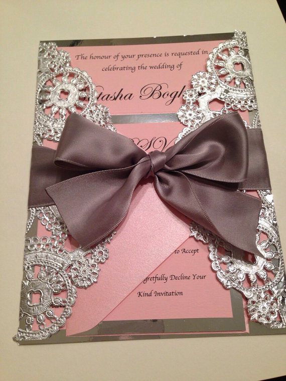 Metallic Doilies Wedding Invitation Suite With Ribbon Bow In Cards