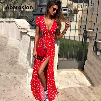 5faa50d6a1101c4 Product Offer. Abardsion богемные женские шифоновые в горошек платье Лето  2019 ...