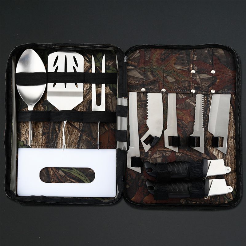 High quality outdoor  BBQ set fish knife 8 pcs Outdoor Tools Set with camo nylon bag for simple assembling Free shipping ballistic nylon tools bag for tools storage 280x245x180mm