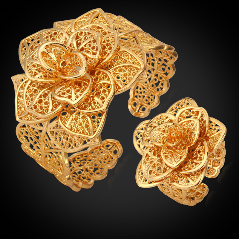 Gold Color Cuff Bracelet Ring Set For Women Luxury Flowers Wedding Flora Fashion Jewelry Sets HR483Gold Color Cuff Bracelet Ring Set For Women Luxury Flowers Wedding Flora Fashion Jewelry Sets HR483