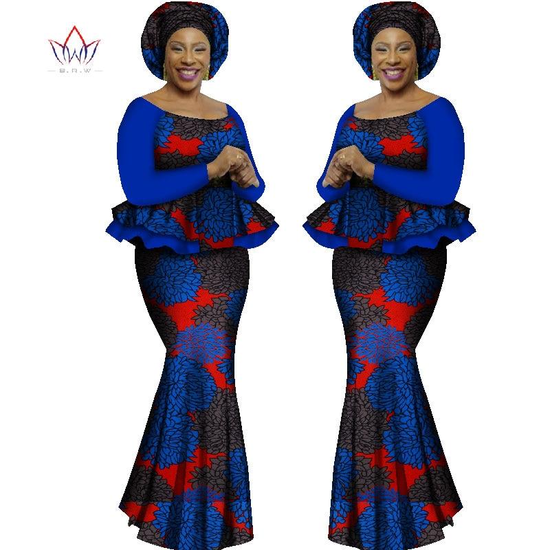 Sommar Kvinnor Klänningar Afrikanska Kläder 2 Styck Set Kvinnor Afrikanska Klänningar För Kvinnor Långärmad Maxi Print Kjol 6XL WY1562