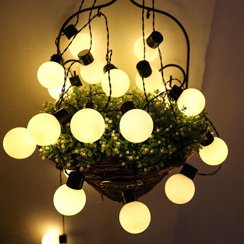 6M 20 LED Cadena de luz al aire libre impermeable luces de hadas guirnalda bola bombillas jardín Patio boda decoración de Navidad Cadena de luz Luces de Navidad decoración al aire libre 5 metros droop 0,4-0,6 m cortina led guirnalda de luces de carámbanos Año Nuevo boda fiesta guirnalda Luz