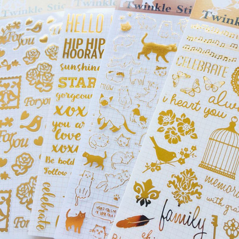 1 Sheet Gold Bling Wish Letters Cats Bird Adhesive Stickers Computer Notebook Hand Account Decor