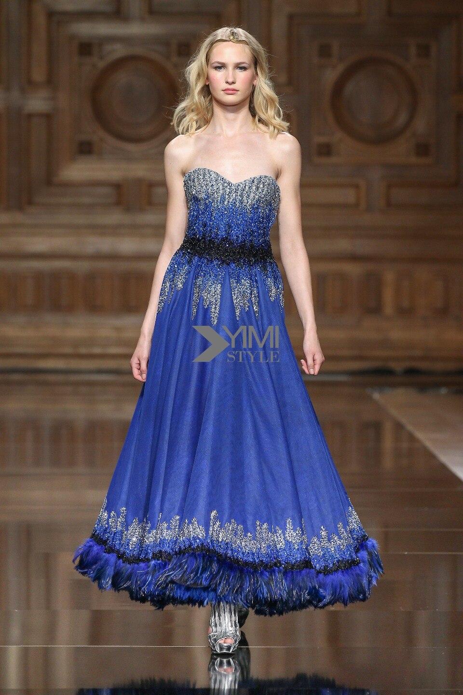 2019 haute qualité Robe De soirée bleu Royal Blingbling court paillettes plume mode Robe De soirée Robe De soirée