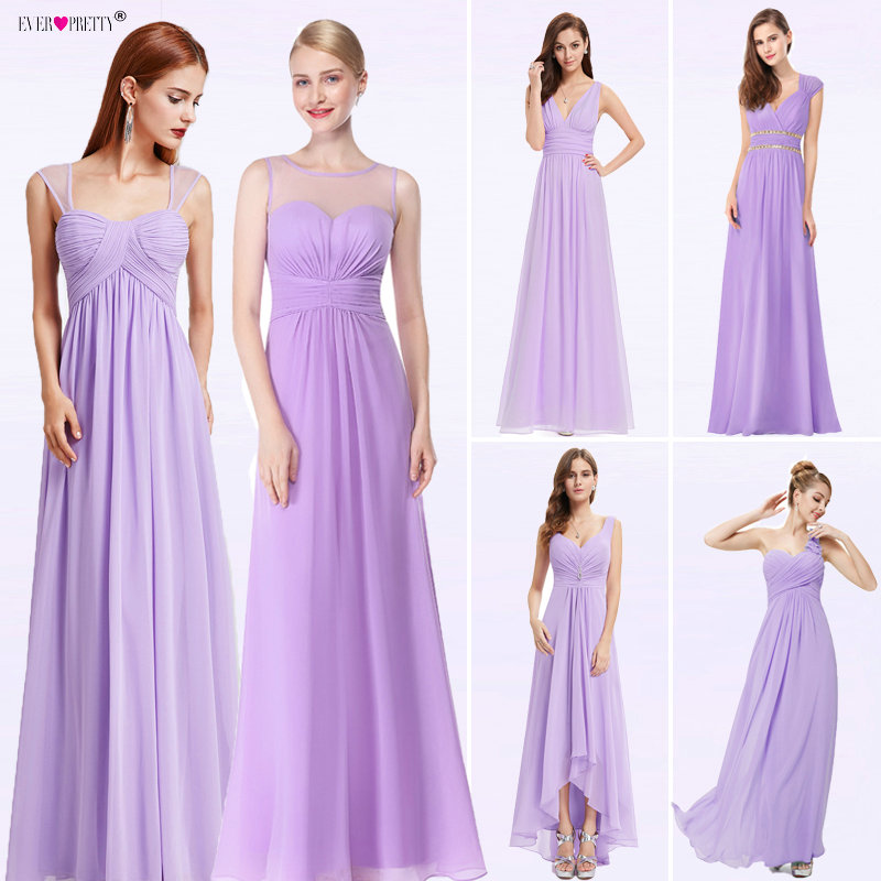 Ever Pretty New Women Wedding Bridesmaid Dresses Chiffon A-line V-Neck Spaghetti Straps Pleat Purple Dress For Wedding Guest