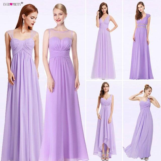8a606751af US $29.99 30% OFF|Ever Pretty New Women Wedding Bridesmaid Dresses Chiffon  A line V Neck Spaghetti Straps Pleat Purple Dress For Wedding Guest-in ...