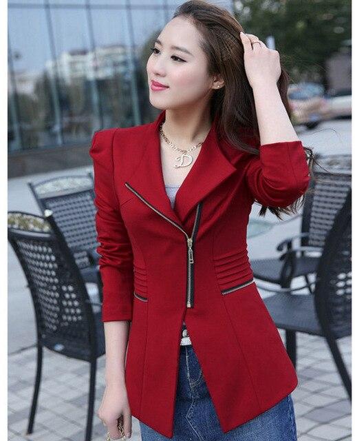 Aliexpress hot ladies slim long zipper trade small female leisure suit jacket Four color