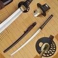 Grado japonés hecho A mano espada Real Katana de acero al carbono 1095, arcilla templado hoja de hierro Tsuba Sharp listo para la batalla.