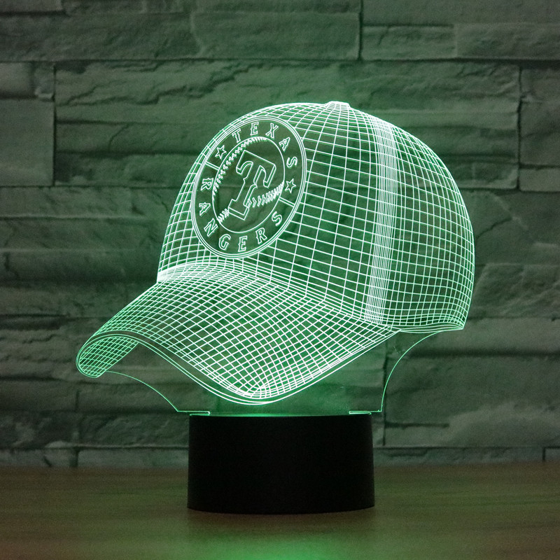 8071 Texas Rangers Baseball Cap Hat 3D LED Lamp Atmosphere lamp 7 Color Changing Visual  ...