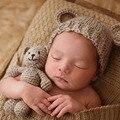 Caliente del bebé lindo con el sombrero encantador del oso animal hecho a mano newborn fotografía atrezzo bebé cap beanie infantil del bebé accesorios