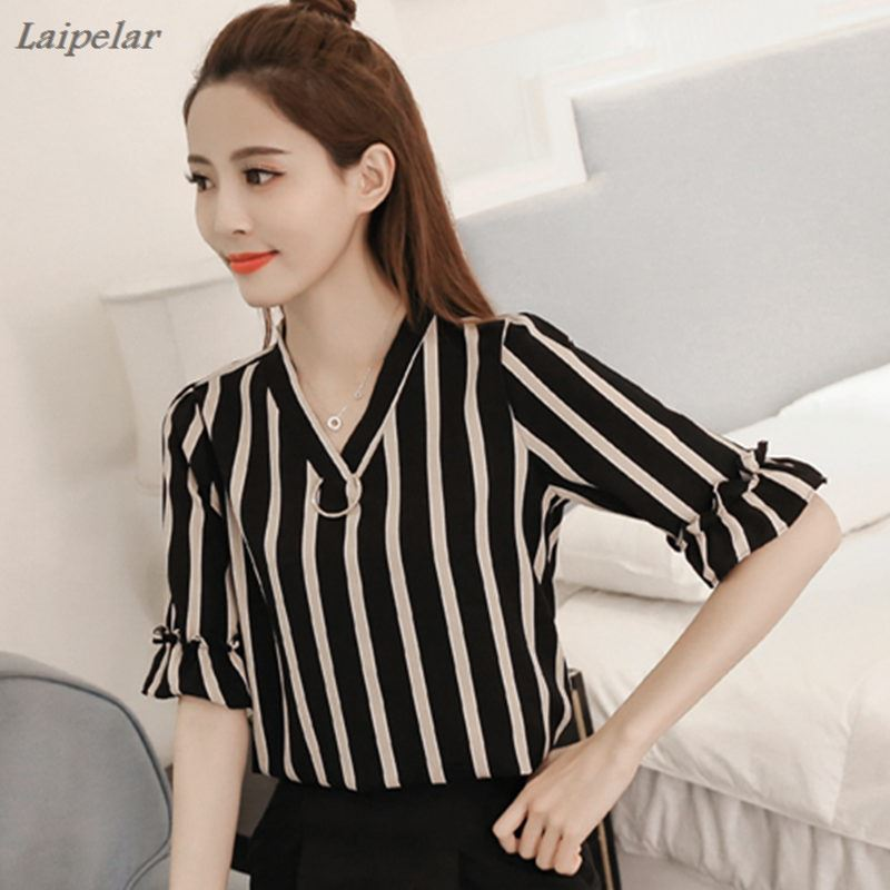 Women Summer Style Chiffon Blouse Fashion Blouses 2018 Short Flare Sleeve Shirt Casual Simple Stripe Top Plus Size Ladies Shirts