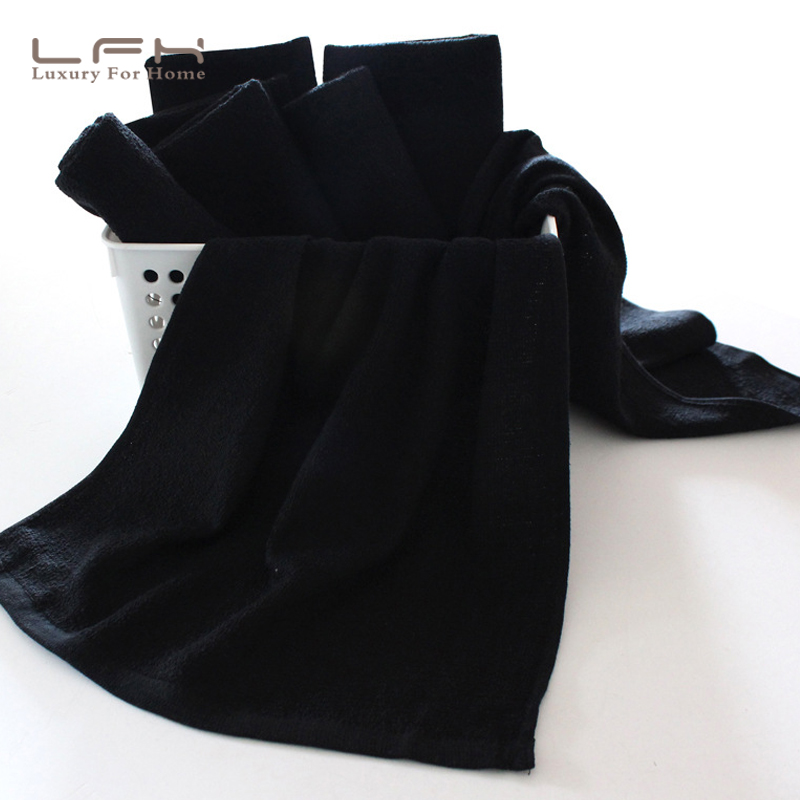 LFH 5pcs/Lot Cotton black Towel Family Salons Sport for man Machine Washable bath Bleach Safe Gym Hand Towel ...