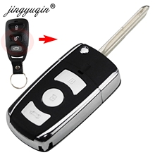 jinyuqin 3/4 Button Modified Flip Remote Car Key Shell Case for Kia Hyundai Elantra Sonata Genesis Santa Fe Accent Coupe Tucson