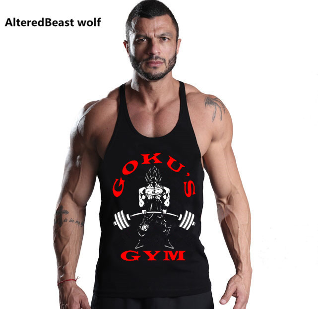 2018 Summer Men Sexy   Tank     Tops   GOKU Print Dragon Ball Bodybuilding   Tank     Tops   Fitness Men Cotton Sleeveless Shirt Vest clothing