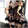 Elegant Black Lace Knee Length Bridesmaid Dresses 2016 Halter Off The Shoulder Ladies New Formal Party Dress Vestido Madrinha