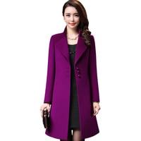 Новый Для женщин Шерсть 95% смеси пальто зимнее 2018 Осенняя мода Большие размеры толстые свободные длинными рукавами Solid Цвет шерстяное пальт