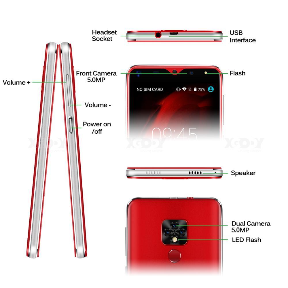 Xgody Mate 20 Mini téléphone portable Android 9.0 2500 mAh téléphone portable Quad Core 1 GB + 16 GB 5.5 pouces 18:9 écran double caméra 3G Smartphone - 6
