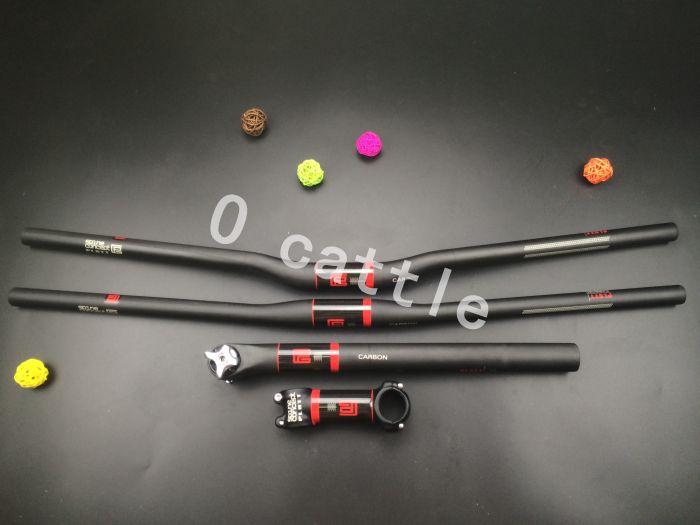 Grande brosse rouge-Platt guidon carbone vtt vélo mis en place/guidon plat + tige de selle FW-SET-3 aluminisation carbone souches