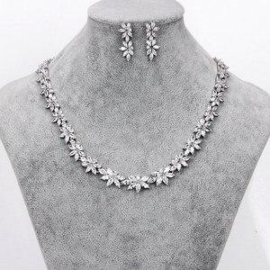Image 1 - Brazaletes para damas marca WEIMANJINGDIAN Zirconia cúbica brillante CZ collar de flores de cristal y pendientes conjuntos de joyería nupcial de boda