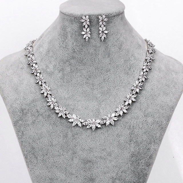 WEIMANJINGDIAN Brand Sparkling Cubic Zirconia CZ Crystal Flower Necklace and Earring Wedding Bridal Jewelry Sets