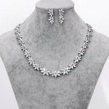 WEIMANJINGDIAN Marke Funkelnden Zirkonia CZ Kristall Blume Halskette und Ohrring Hochzeit Braut Schmuck Sets