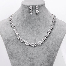 WEIMANJINGDIAN collier et boucle doreille en zircone cubique scintillante, CZ cristal, ensembles de bijoux de mariée
