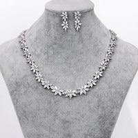 WEIMANJINGDIAN Brand Sparkling Cubic Zirconia Crystal Zircon Flower Necklace And Earring Wedding Jewelry Set