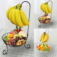 Декоративная круглая хромированная проволочная корзина для фруктов и овощей, 11 дюймов, металлическая миска с держателем для бананов, кухонный стол для хранения, Новинка