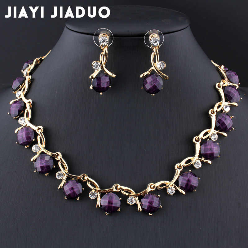 Jiayijiaduo Bridal Jewelry Sets for Women Banquet Dress Accessories Resin Purple Necklace Earrings Gold Color Necklace