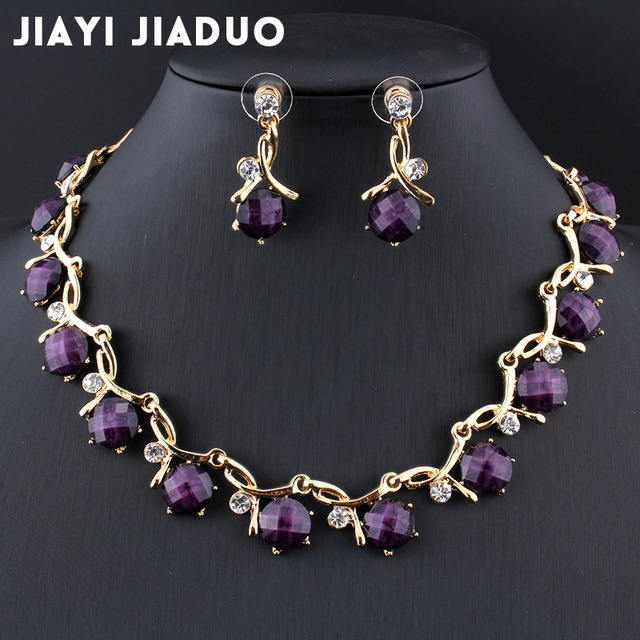 Jiayijiaduo כלה תכשיטי סטים לנשים משתה שמלת אביזרי שרף סגול שרשרת עגילי זהב צבע שרשרת