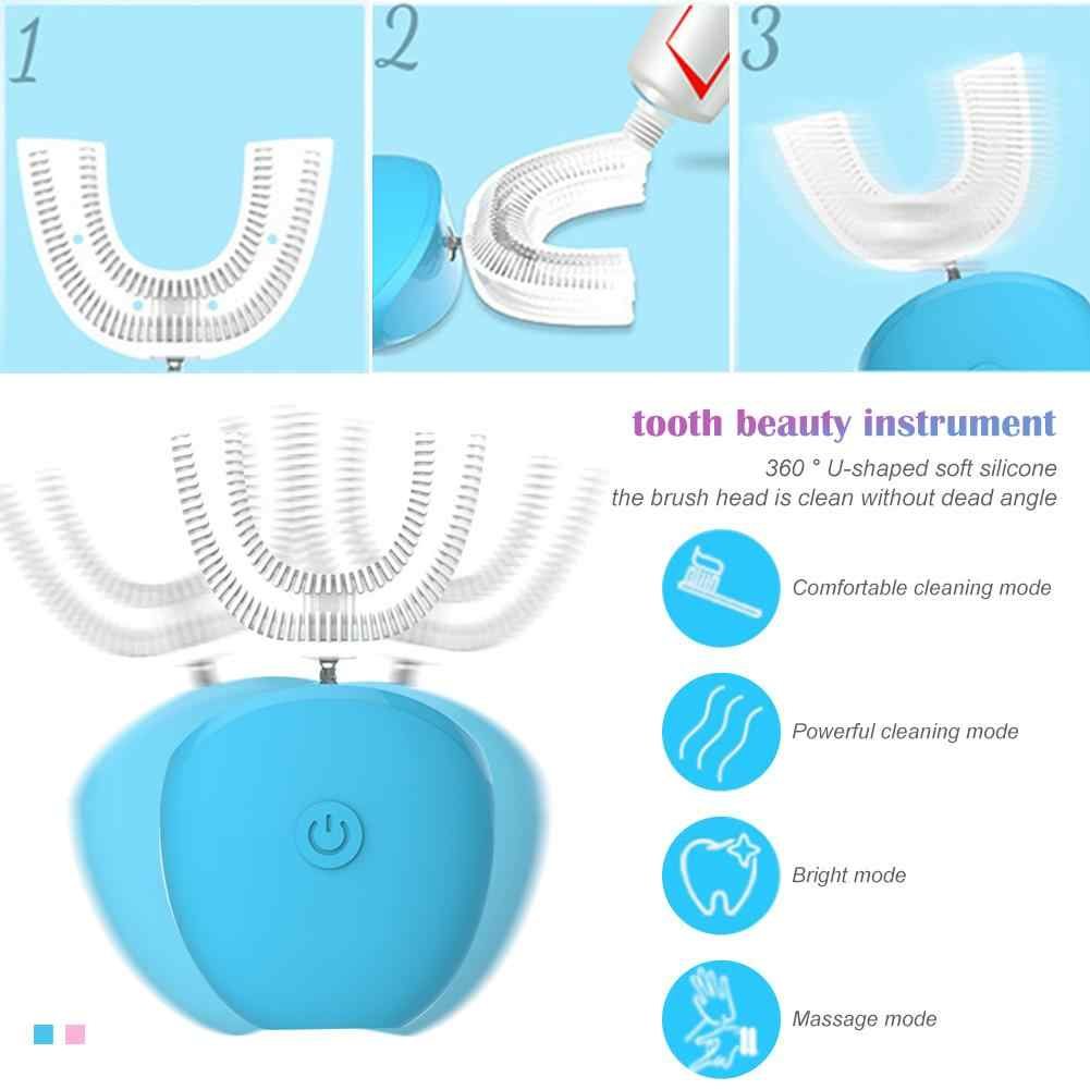 Интеллектуальная автоматическая звуковая электрическая зубная щетка типа U для зуба на 360 градусов, usb-зарядка, зуб зубы, отбеливающий синий свет
