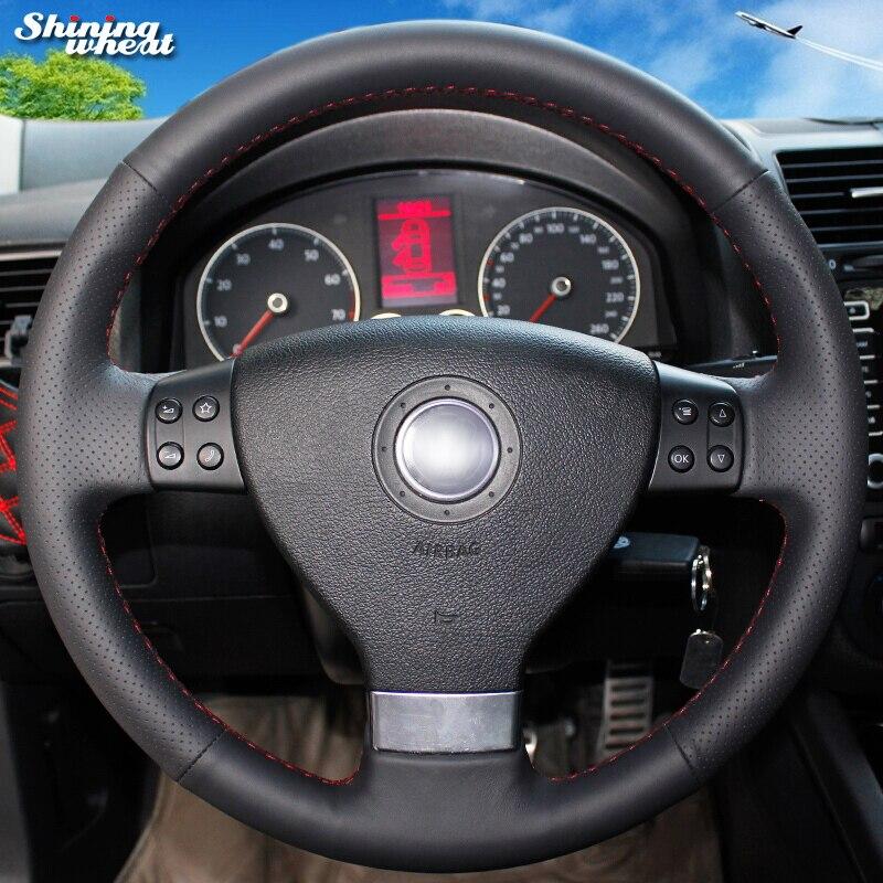 Couverture de volant de voiture en cuir véritable noir de blé brillant pour Volkswagen Golf 5 Mk5 VW Passat B6 Mk5 Tiguan 2007-2011 Jetta 5