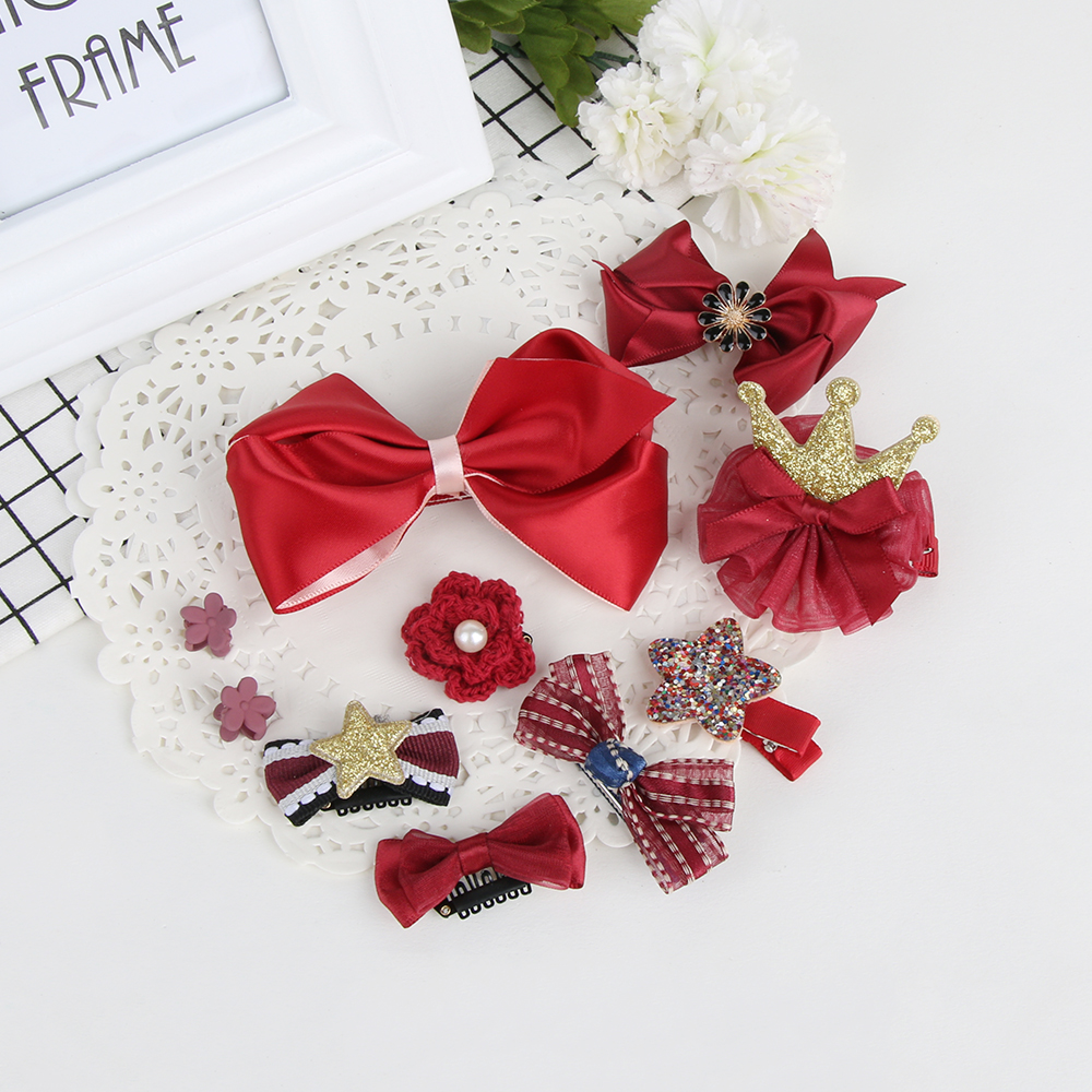 10Pcs/Set Fashion Cute Girls Elastic Bowknot Hair Clips Bow Flower Barrettes Party Hairpins Kids Headwear Hair Accessories handheld plastic welder hot air gun vinyl welding heat gun 8m3 h 2800pa 1000w 220v