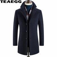 Teaegg высокое качество зимнее шерстяное пальто Для мужчин Мужские парки 2017 Стенд воротник темно-средней длины Для мужчин Шерстяное пальто Ку...