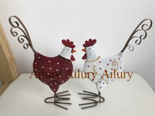 50% off,2pcs,European red white tin chicken ornaments,double-sided printing,window decoration,Christmas gifts,desktop home decor