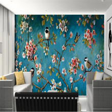 Beautiful flowers and birds background wall decoration painting professional manufacture mural photo wallpaper