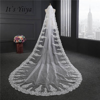 It's YiiYa White Sequines Veus De Noiva Veils One Layer 3.5m Lace Edge Brides Veil Appliqued Luxury Wedding Accessories VTS 034