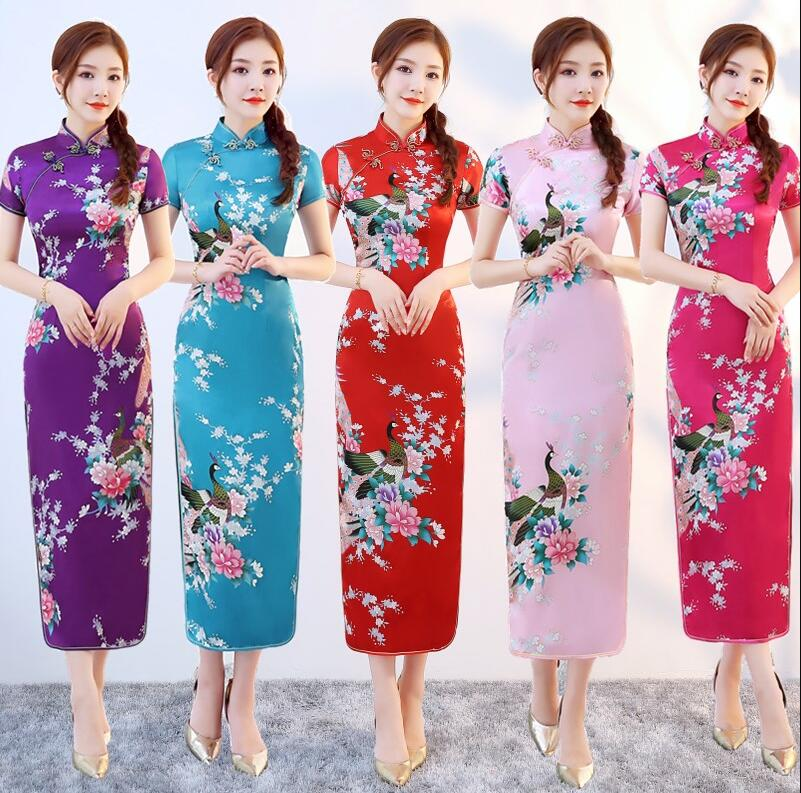 Free Shipping high quality Fashion Green Rayon Cheongsam Chinese Classic Women's Qipao Elegant Short Sleeve Novelty Long Dress