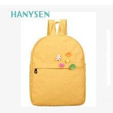 2017, Новая мода Простой холст женская рюкзак элегантный дизайн школьные сумки для подростков Лидер продаж для девочек свежий рюкзак дорожная сумка
