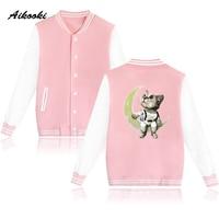 Aikooki Space Baseball Jacket Autumn Spring Jacket Women Pink Funny Print Dog Cat Moon Stars Earth