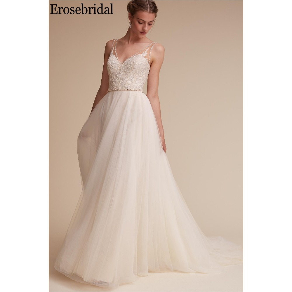 Simple Wedding Dress Divisoria: Erosebridal Simple Wedding Dress A Line Beaded V Neck