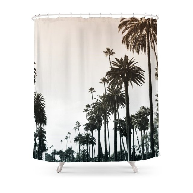 Los Angeles Shower Curtain Waterproof Polyester Eco Friendly Antibacterial Curtains