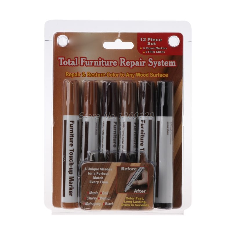 6pcs/1 Set Wood Repair System Kit Filler Sticks Touch Up Marker Floor Furniture Scratch Fix DEC07 Wholesale&DropShip