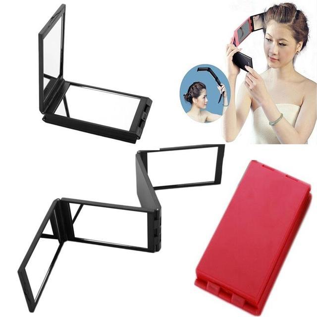 Cuatro Lados Espejo Compacto 4 Pliegues Del Panel portátil Ampliable Espejo de Maquillaje Con El Caso Herramienta de La Belleza Cosmética