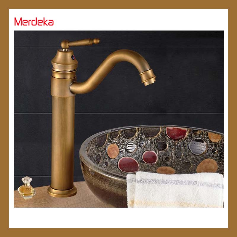 High Body Round Hot Cold Water Basin Faucet Vanity Sink Mixer Bathroom Tapware Antique Copper antique bathroom vanity sink faucet single ceramic handles brass hot and cold basin mixer copper pop up drain