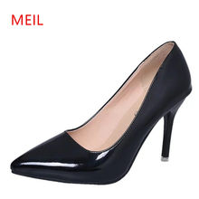 Big Size 40-48 Pompe Scarpe Da Donna Nero della Pelle Verniciata Punta Toe Stiletto High Heel Fashion Office Lady Partito Scarpe Da Sera 2018(China)